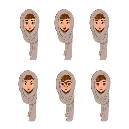 Woman face characters in a scarf with different facial expressions on white background. Vector illustration. Ilustrace