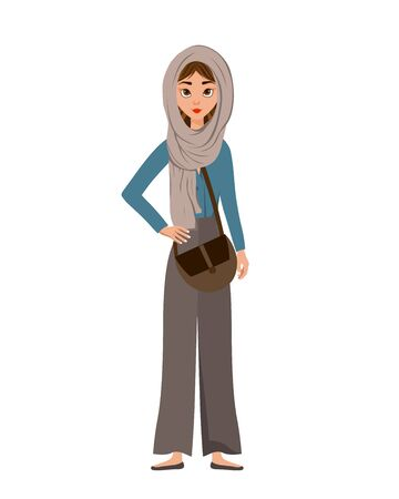 Woman holiday character in a scarf with a bag on white background. Vector illustration. Ilustrace