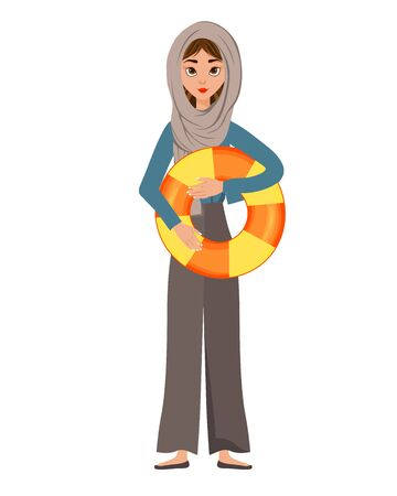 Woman holiday character in a scarf with a Lifebuoy on white background. Vector illustration.