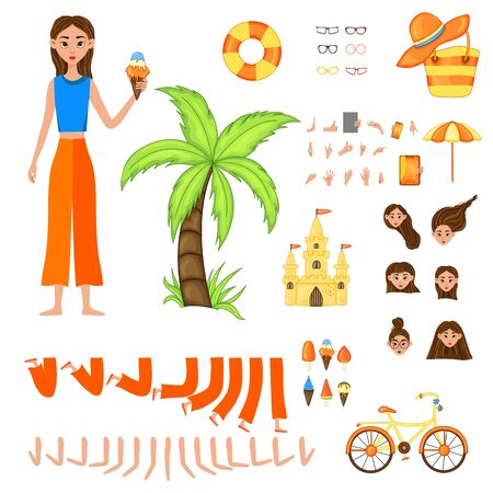 Vacation set of female characters. Girl with holiday attributes on a white background. Vector illustration.