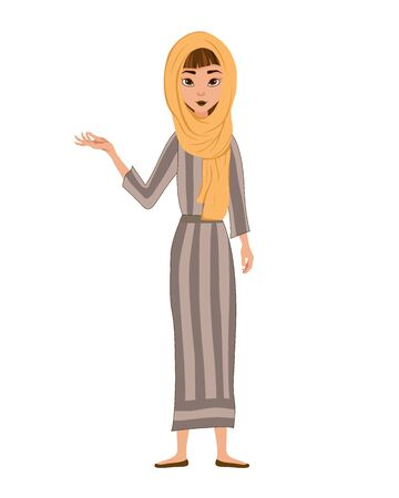 Set of female characters. Girl points to the right hand to the side. Vector illustration.