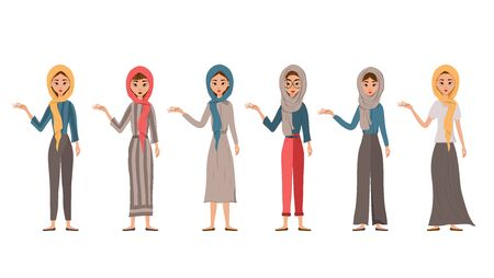 Set of female characters. Girls points to the right hand to the side. Vector illustration.