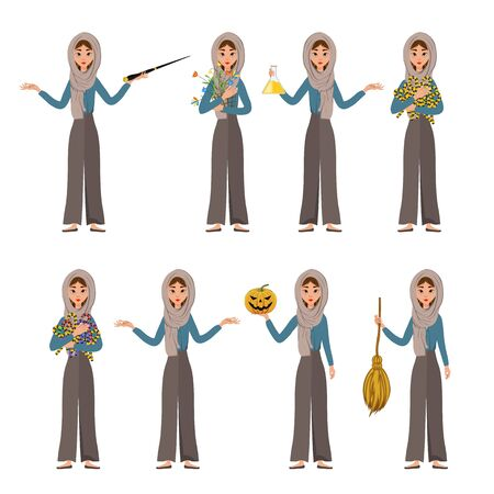 Halloween set of female characters. Girl with holiday attributes in her hands. Vector illustration.