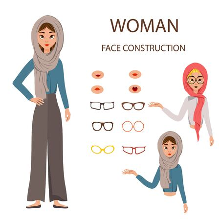 Woman face construction in vector on white background. Woman in a scarf with different options for glasses and facial expressions.