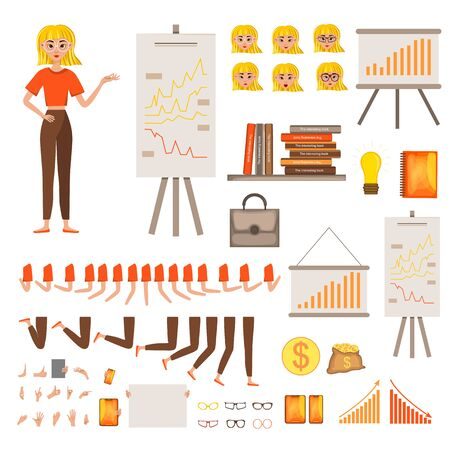 Businesswoman working character design set. Vector illustration.