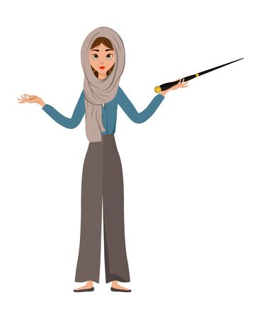 Halloween set of female characters. Girl with Magic wand in her hands. Vector illustration.