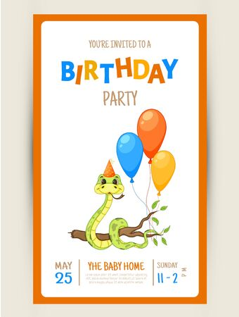 Colorful Party invitation card with a cute snake on a white background. Celebration Event Happy Birthday. Multicolored. Vector