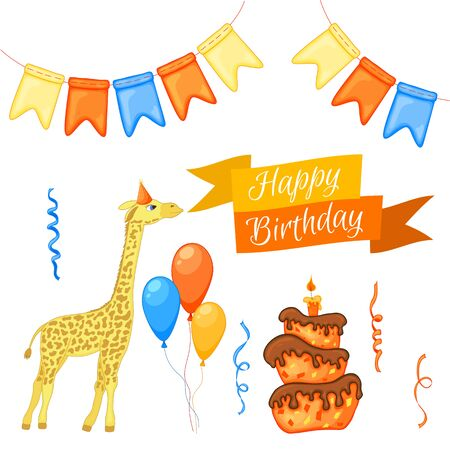 "Party set with giraffe and colorful items on a white background. Inscription ""Happy Birthday"". Multicolored. Vector"