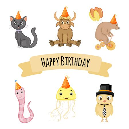 Birthday set of cute animals for holiday card or invitation. Cartoon style. Vector illustration Illustration