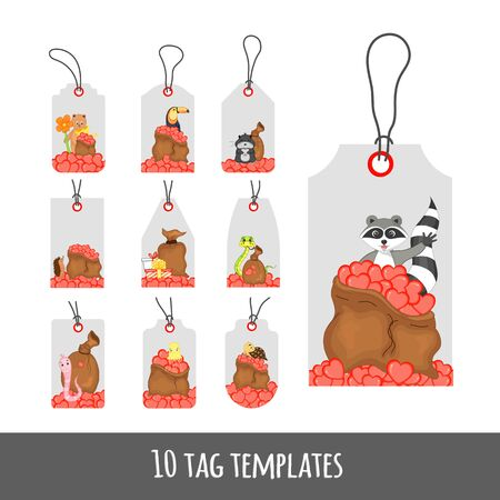 Valentine's Day set of holiday labels with cute animals. Cartoon style. Vector illustration