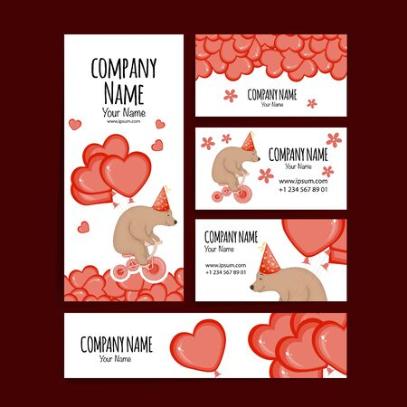 Valentine's Day template for text with cute teddy bear. Cartoon style. Vector illustration Vector Illustratie