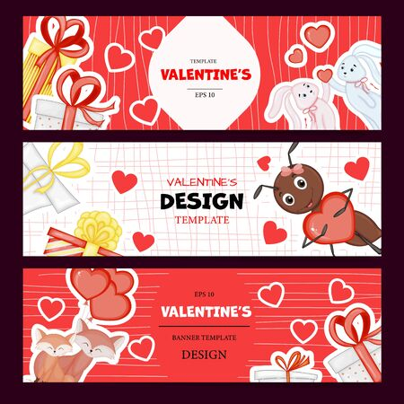 Valentine's Day set of template for your text. Cartoon style. Vector illustration