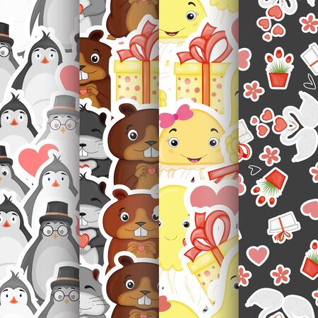 Valentine's Day set of seamless patterns. Cartoon style. Vector illustration
