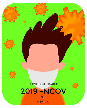 Template for the Novel Coronavirus 2019-nCoV outbreak with a group of people. Pandemic epidemiology concept. Vector flat illustration. Vettoriali