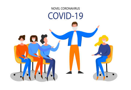 Woman sits at a personal computer and studies the latest news about the Coronavirus 2019-nCoV outbreak isolated on a white background. Pandemic epidemiology concept. Vector flat illustration.