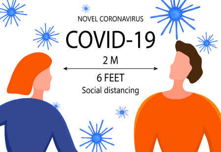 Two meter safe distance between people during Coronavirus 2019-nCoV outbreak isolated on a white background. Pandemic epidemiology concept. Vector flat illustration. Ilustração