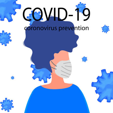 Portraits of masked men and women isolated on a white background. Coronavirus 2019-nCoV outbreak. Pandemic epidemiology concept. Vector flat illustration