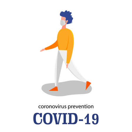Template for the Novel Coronavirus 2019-nCoV outbreak man isolated on a white background. Pandemic epidemiology concept. Vector flat illustration.