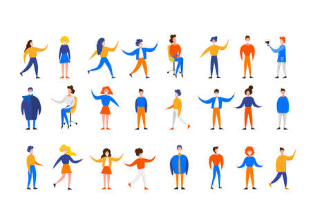 Set with characters of women and men in masks in various poses isolated on a white background. Coronavirus 2019-nCoV outbreak. Pandemic epidemiology concept. Vector flat illustration.
