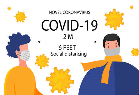 Two meter safe distance between people during Coronavirus 2019-nCoV outbreak isolated on a white background. Pandemic epidemiology concept. Vector flat illustration Ilustração