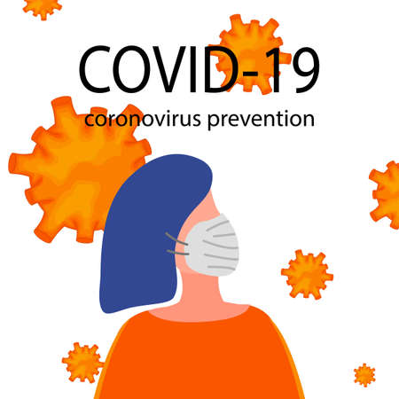 Portraits of masked men and women isolated on a white background. Coronavirus 2019-nCoV outbreak. Pandemic epidemiology concept. Vector flat illustration. Ilustração