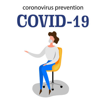 Template for the Novel Coronavirus 2019-nCoV outbreak with a woman isolated on a white background. Pandemic epidemiology concept. Vector flat illustration