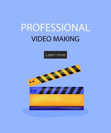 Tiny Characters Making Movie. Operator Using Camera and Staff with Professional Equipment Recording Film. Director with Megaphone, People with Clapperboard and Reel Film. Cartoon Vector Illustration.