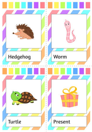 Cards for children to study animals. Cartoon style. Vector illustration