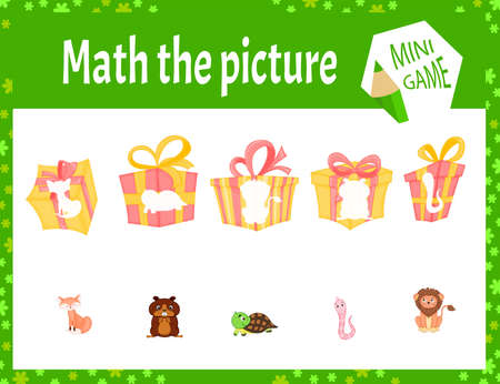 Math the picture mini game for children. Cartoon style. Vector illustration
