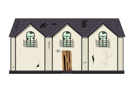 One-story old dilapidated house before renovation. Cartoon style. Vector illustration