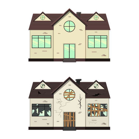 One-storey house before and after repair. Cartoon style. Vector illustration