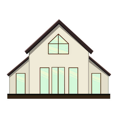 Set of houses on a white background for construction and design. Cartoon style. Vector illustration