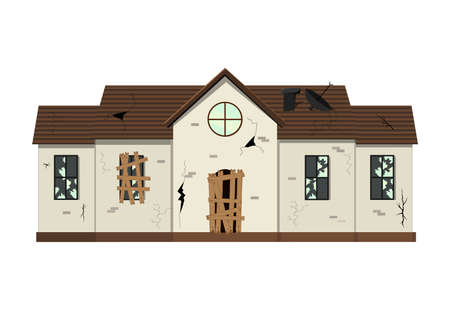 One-story old dilapidated house before renovation. Cartoon style. Vector illustration Ilustração
