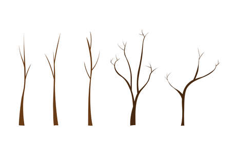 Set of tree trunks on a white background for construction and design. Cartoon style. Vector illustration