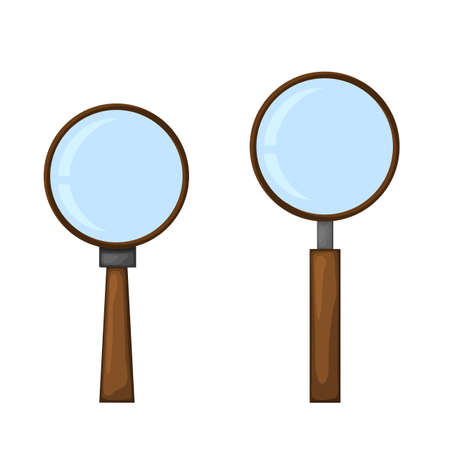 Two magnifiers on a white background for construction and design. Cartoon style. Vector illustration