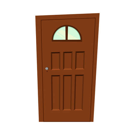 Set of doors on a white background for construction and design. Cartoon style. Vector illustration.