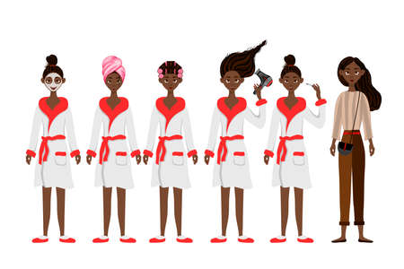 Set with a black skin female character and various cosmetic procedures. Cartoon style. Vector illustration.