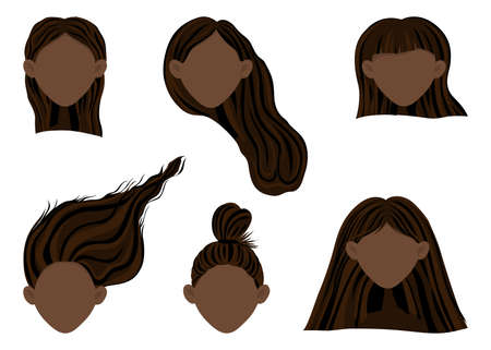 Constructor with dark-skinned female heads with different hairstyles. Cartoon style. Vector illustration