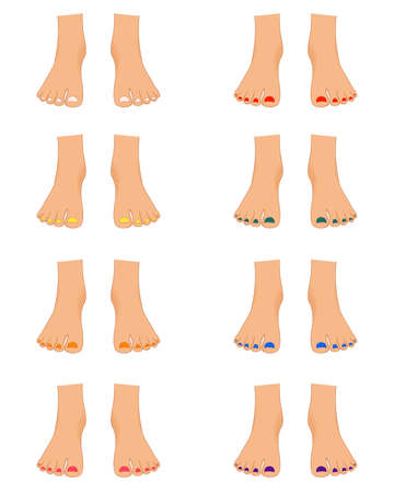 Set of female feet for the constructor. Cartoon style.