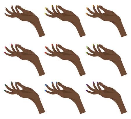 Set of female dark-skinned hands for the constructor. Cartoon style. Vector illustration
