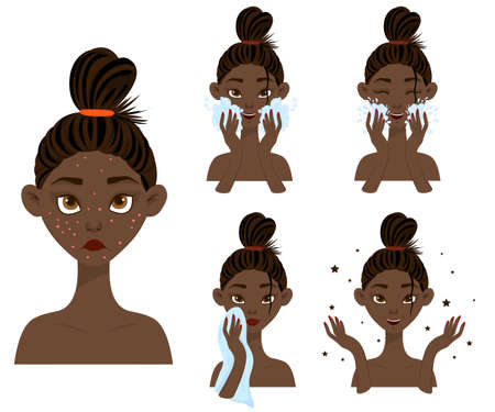 Dark-skinned girl before and after acne treatment. Cartoon style. Vector illustration