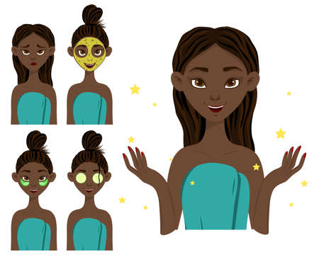 Dark-skinned girl before and after applying a beauty mask. Cartoon style.