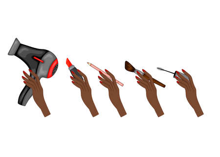 Beauty illustration with set of female hands with beauty objects. Cartoon style. Vector constructor