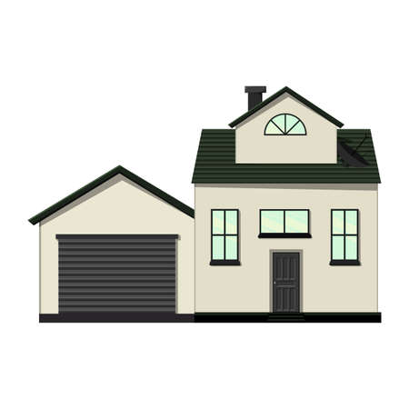 Set of houses on a white background for construction and design. Cartoon style. Vector illustration Ilustração