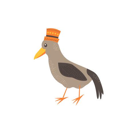 Cute bird in scandinavian style. Hand drawing vector illustration.