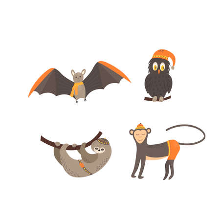 Cute animals in scandinavian style. Hand drawing vector illustration.