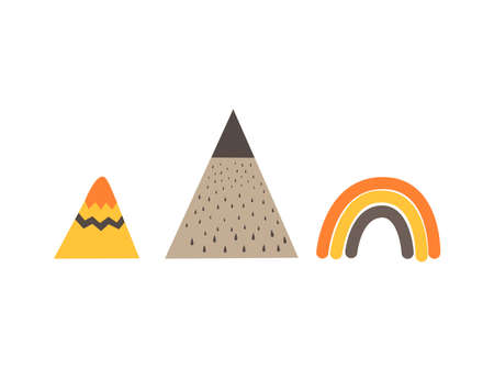 Mountains and rainbow in scandinavian style. Hand drawing vector illustration. Ilustracja