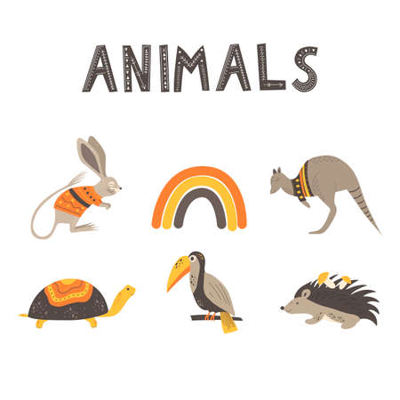 Cute animals and the inscription Animals in scandinavian style. Hand drawing vector illustration.  イラスト・ベクター素材