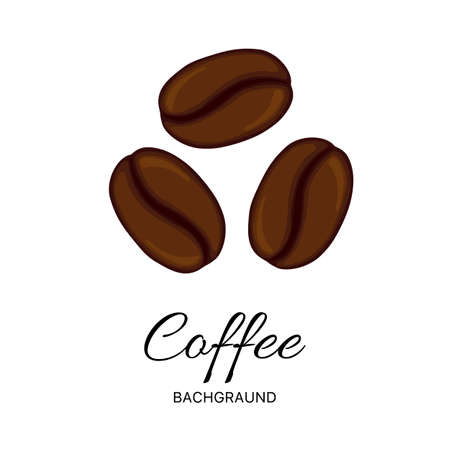 Coffee beans set on white background isolated.