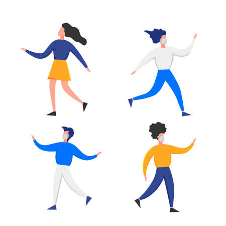 People in medical masks gesturing with hands isolated on a white background. Coronavirus 2019-nCoV outbreak. Pandemic epidemiology concept. Vector flat illustration.